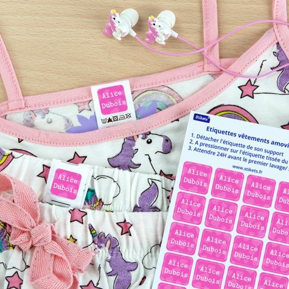 Étiquette thermocollante pour vêtement enfant